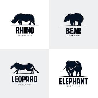 Conjunto de modelo de design de logotipo de animais Vetor Premium
