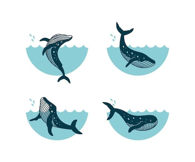 Conjunto de modelo de design de logotipo de baleia