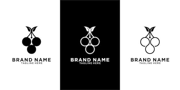 Conjunto de modelo de design de logotipo de caneta de uva minimalista
