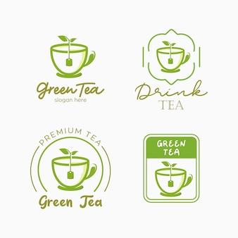 Conjunto de modelo de design de logotipo de chá verde. ilustração de chá verde à base de plantas