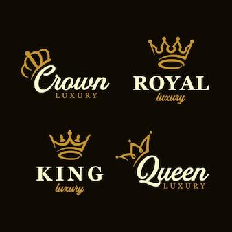 Conjunto de modelo de design de logotipo de conceito criativo de coroa