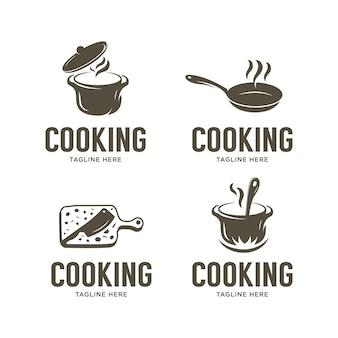 Conjunto de modelo de design de logotipo de culinária vintage