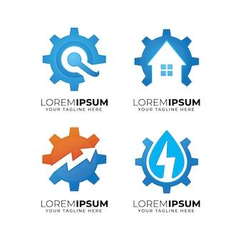 Conjunto de modelo de design de logotipo de elementos de engrenagem