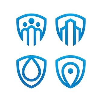 Conjunto de modelo de design de logotipo de escudo