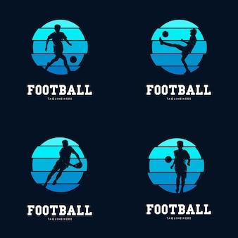 Conjunto de modelo de design de logotipo de esporte de futebol