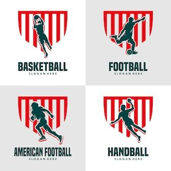 Conjunto de modelo de design de logotipo de esporte