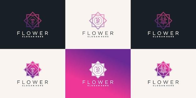 Conjunto de modelo de design de logotipo de flor abstrata para salão de beleza premium vector