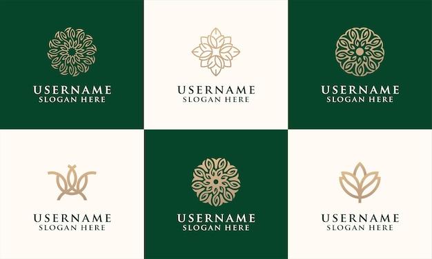 Conjunto de modelo de design de logotipo de flor elegante para moda, salão de beleza, spa, logotipo de ioga