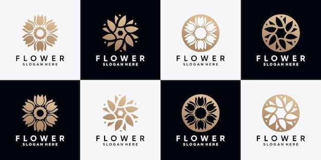 Conjunto de modelo de design de logotipo de flor rosa abstrata com conceito criativo