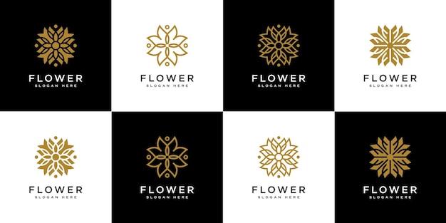 Conjunto de modelo de design de logotipo de flor
