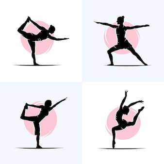 Conjunto de modelo de design de logotipo de ginástica