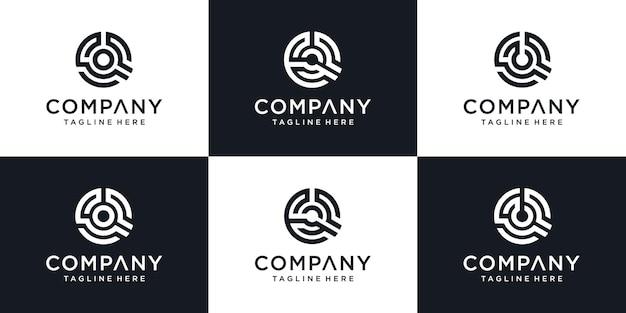 Conjunto de modelo de design de logotipo de ícone de letra q inicial abstrata de monograma.
