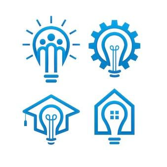Conjunto de modelo de design de logotipo de lâmpada