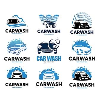 Conjunto de modelo de design de logotipo de lavagem de carro