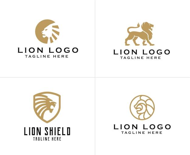 Conjunto de modelo de design de logotipo de leão dourado