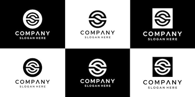 Conjunto de modelo de design de logotipo de letra abstrata