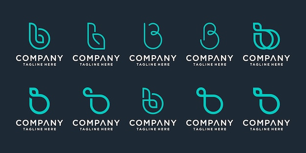 Conjunto de modelo de design de logotipo de letra b inicial criativo.