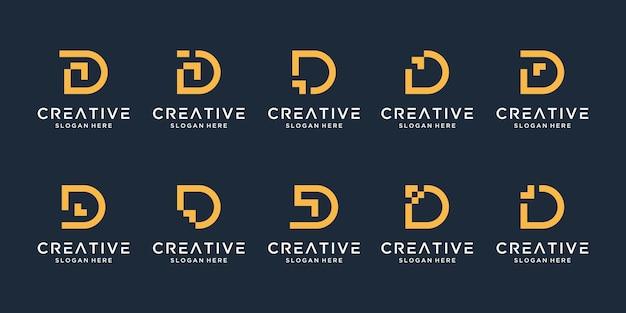 Conjunto de modelo de design de logotipo de letra d criativo.