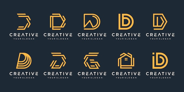 Conjunto de modelo de design de logotipo de letra d de monograma abstrato criativo.