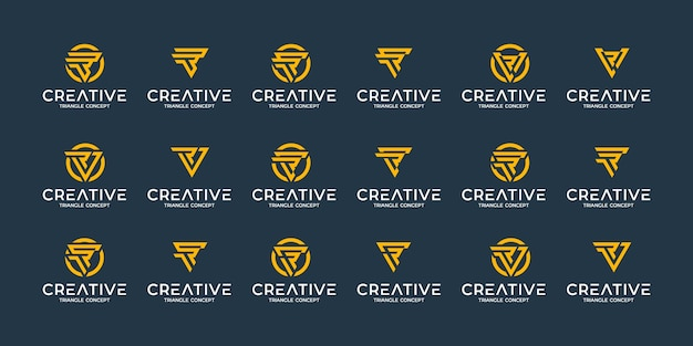 Conjunto de modelo de design de logotipo de monograma abstrato criativo. logotipos para negócios de luxo, elegantes e simples. conceito de triângulo
