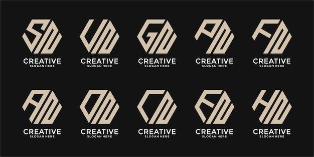 Conjunto de modelo de design de logotipo de monograma criativo