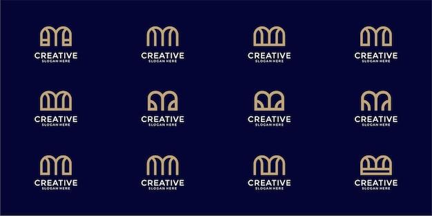 Conjunto de modelo de design de logotipo de monograma da letra m