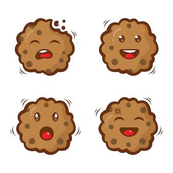 Conjunto de modelo de design de logotipo de personagem de biscoitos