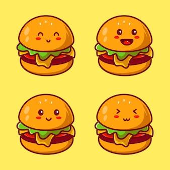 Conjunto de modelo de design de logotipo de personagem de hambúrguer fofo