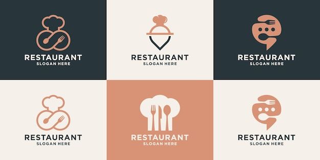 Conjunto de modelo de design de logotipo de restaurante criativo