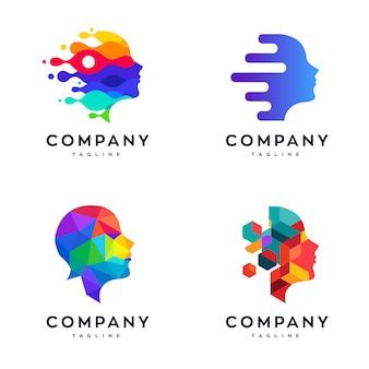 Conjunto de modelo de design de logotipo de rosto moderno, conjunto de logotipo de rosto abstrato, conjunto de logotipo de rosto colorido