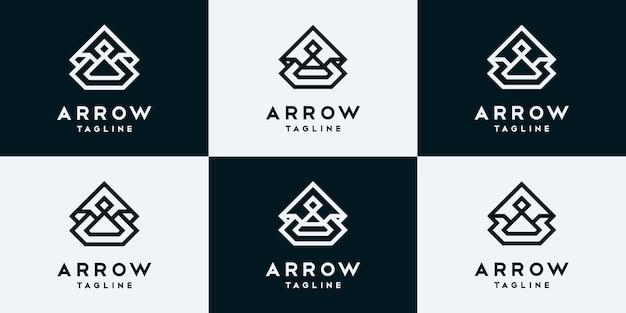 Conjunto de modelo de design de logotipo de seta de coleção.