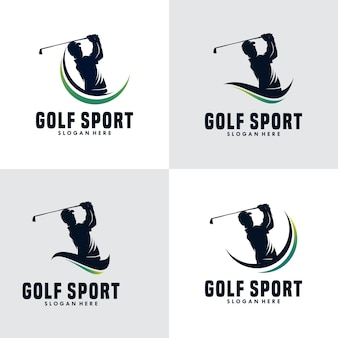 Conjunto de modelo de design de logotipo de silhueta de esporte de golfe