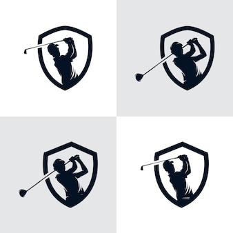 Conjunto de modelo de design de logotipo de silhueta de esporte de golfe Vetor Premium