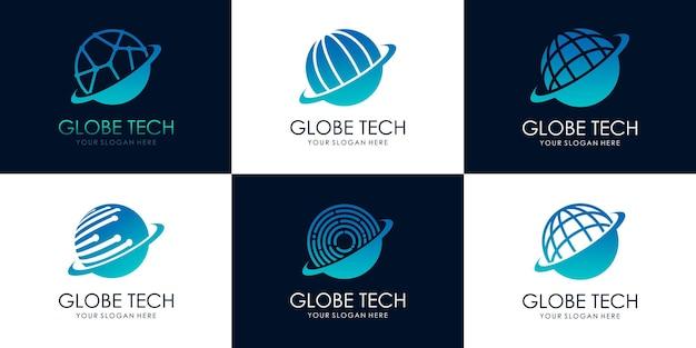 Conjunto de modelo de design de logotipo de tecnologia mundial