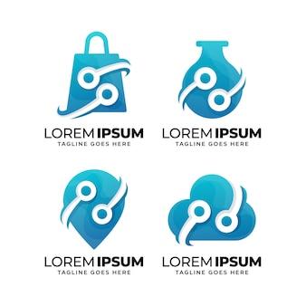 Conjunto de modelo de design de logotipo de tecnologia