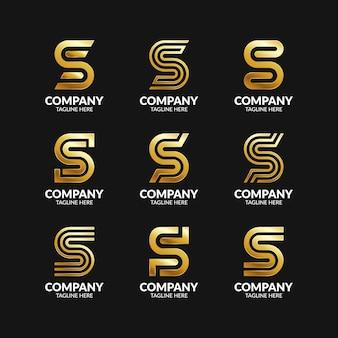 Conjunto de modelo de design de logotipo elegante com letra s de monograma