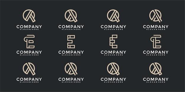 Conjunto de modelo de design de logotipo eq de letra inicial de monograma abstrato