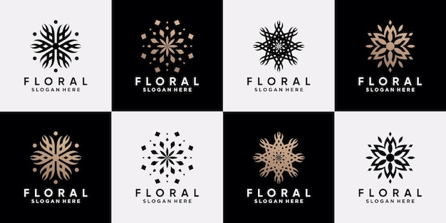 Conjunto de modelo de design de logotipo floral abstrato com conceito único criativo