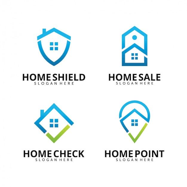 Conjunto de modelo de design de logotipo imobiliário