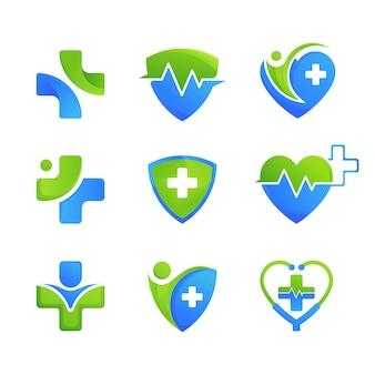 Conjunto de modelo de design de logotipo médico de cuidados de saúde