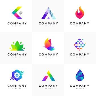 Conjunto de modelo de design de logotipo moderno, conjunto de logotipo abstrato, conjunto de logotipo colorido, conjunto de modelo de design de logotipo minimalista