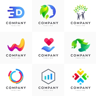Conjunto de modelo de design de logotipo moderno, conjunto de logotipo abstrato, conjunto de logotipo colorido, modelo de design de logotipo minimalista