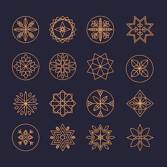 Conjunto de modelo de design de logotipo monograma de luxo
