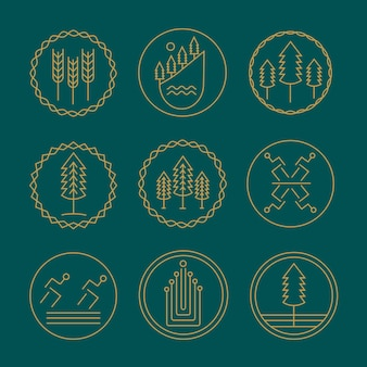 Conjunto de modelo de design de logotipo monograma natureza