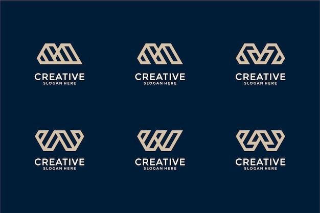 Conjunto de modelo de design de logotipo mw de letra inicial de monograma abstrato