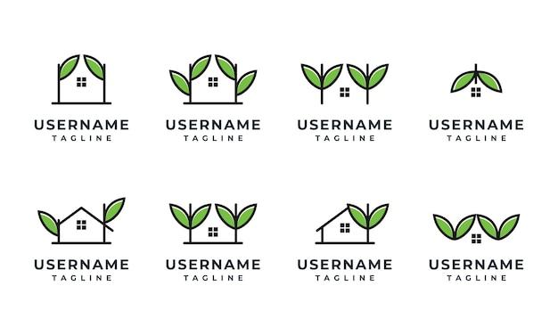 Conjunto de modelo de design de logotipo para casa, casa e folha da natureza