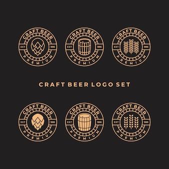 Conjunto de modelo de design de logotipo vintage de cerveja artesanal