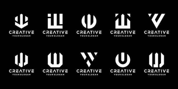 Conjunto de modelo de design de logotipo w de letra de monograma criativo.