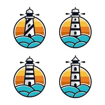 Conjunto de modelo de design de logotipos de farol