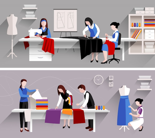 Conjunto de modelo de design de loja de costura alfaiate studio